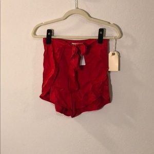 Red Wrap Shorts Urban Outfitters